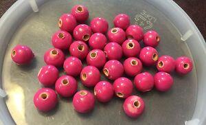 Vintage Retro Woodstock Deep Berry Pink Painted Coated Wood Round Bead Lot