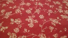 Vintage Fabric Pink/Red With White Roses