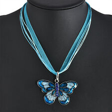 Girls Womens Enamel Silver Plated Butterfly Crystal Pendant Necklace With Chain