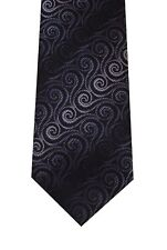John Ashford tie men necktie black gray Mini Swirl new