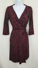 DIANE von FURSTENBERG Dress 4 Red New Julian Two Silk Jersey Wrap Animal Rain