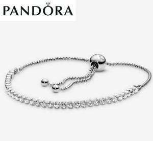 Genuine Silver Pandora Clear Rose Gold Sparkling Slider Tennis Bracelet UK STOCK