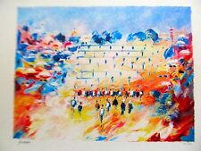 Israeli Art/Judaica Western Wall Lithograph by Ben Avram Signed 15x11