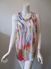 IRO Water Color Prints Scoop Neck Cut Out Design Silk Tunic Tank Top 40 or M