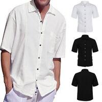 Men's Blouse Tops Linen Short Sleeve Shirts Cotton T-shirt Button Down Shirt UK