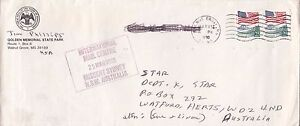 Stamps 1990 USA on long cover addressed to UK but missent to Sydney Australia