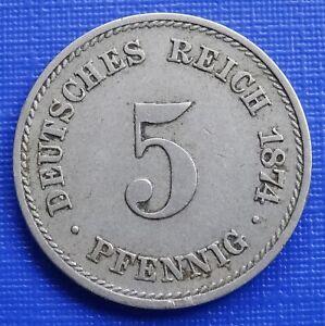 Germany 5 Pfennig, 1874 (F) Wilhelm I, KM#3~Copper Nickel 2.5g~VF Coin~#432