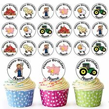 Cartoon Farm Mix 24 Personalised Pre-Cut Edible Birthday Cupcake Toppers