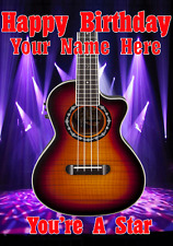 Acoustic Bass Guitar cptmi2 Happy Birthday Card A5 Personalised Greeting Cards