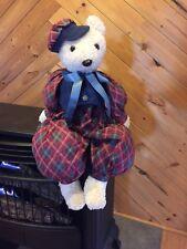 teddy bear french artist plaid sitter handmade Hat