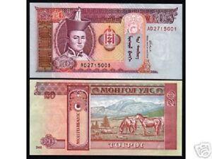 MONGOLIA 20 TUGRIK P63 2002 HORSES UNC HALF BUNDLE LOT PACK X 50 PCS BANK NOTE