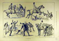 Original Old Antique Print 1881 Obstructionist Horse Rider Hunter Hunt Hound