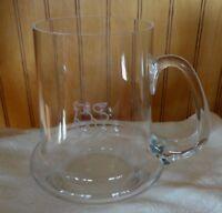 Large 22oz Merrill Lynch Bull Etch Glass Beer Mug Handle Barware Bank of America
