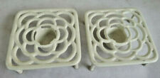 Pair of Vintage White Cast Iron Table Heater Food Warmer