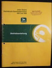 John Deere Hochdruckballenpresse 456 + 466 Anleitung