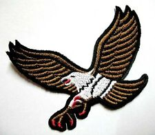 BROWN HAWK EAGLE MOTORCYCLES BIKER Embroidered Iron on Patch Free Shipping