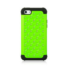 IPHONE 5C / LITE Hybrid Cover BLKSilicone Case Lattice Studded NeonGreen Bling