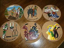 Vintage Cork Coasters - set of 6 - Handpainted - Portugal - Mr. Coaster - Lisbon