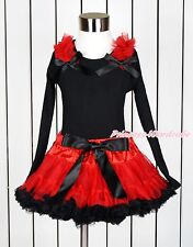 Hot Red Ruffles Black Bows Black Pettitop Hot Red Black Girl Pettiskirt 1-8Year