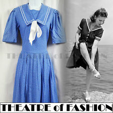 VINTAGE LAURA ASHLEY SAILOR DRESS WEDDING 50s 40s WAR BRIDE WWII 30s ROCKABILLY
