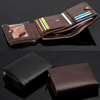 Men's Genuine Leather Trifold Wallet Purse Cowhide Checkbook Card Holder Luxury