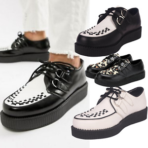 Mens Platform Wedge Lace Up Goth Punk Brothel Creepers Beetle Crusher Shoes Boot