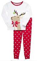 NWT CARTER'S GIRLS BABY 2PC Snug & Fit Polka Dot Reindeer PAJAMAS SIZE 12M & 24M