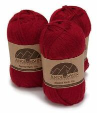 Alpaca Yarn Blend Fingering Weight - Set of 3 Skeins 150 Grams - Dark Red