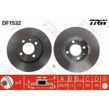 TRW 2x Brake Discs Full Painted Black DF1532