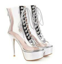 Womens Clear Open Toe Lace Up High Stilettos Heels Platform Sandals Boots Shoes