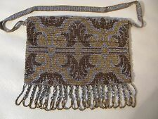 Antique Art Nouveau Deco Gold Silver French Steel Micro Bead Purse FRANCE 293