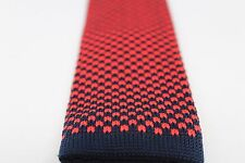"Check Plaid Houndstooth Knit Knitted Neck Tie Woven Slim Square 2.5"" Navy Red"