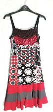 Kollontaï Black, Red and White Geometric Summer Dress size S - Excellent cond.