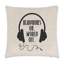 Los auriculares en mundo de Lino Cubierta para Cojín-almohada Gracioso Música Rock N Roll