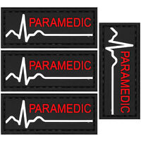 4x PVC Morale Patch Paramedic Red White Black 3D Badge Hook #59 Airsoft
