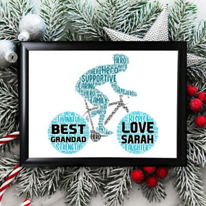 Personalised Bicycle Gifts Grandad Grandfather Him Framed Best Card Christmas