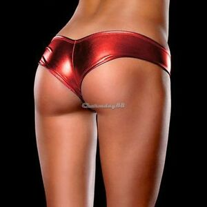 """LOOK"" METALLIC Shorts Panties Thong Red Magaluf Ibiza Club Buy Now  UK STOCK"