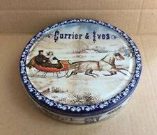 Vtg Currier & Ives Limited Edition Metal Tin Empty Box Hedensted, Denmark 7 5/8""