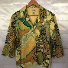 Chicos Tropical Ladies Size 2 Summer Casual Jacket Blazer Free Shipping