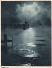 ALPINE SCENERY. [Cloud or mist and ice] 1935 old vintage print picture
