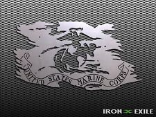 USMC TATTERED FLAG -- Metal Battle Worn Marine Corps. Plasma Cut Sign Wall Art