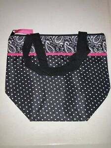 Pampered-Chef On-The-Go Insulated Lunch Tote - #1212- Polka Dot/ Paisley New