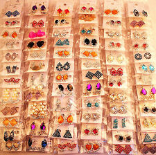 wholesale 36 pairs mixed multi-colour womens metal rhinestone crystal earrings