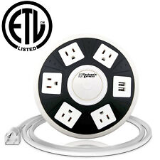 ETL Certified Round Power Strip - 5 Outlets with Surge Protection + 2 USB