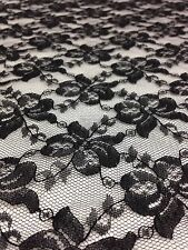 1 Metre Black Net Lace  Floral Non Stretch Fabric