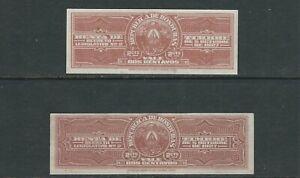 HONDURAS 1927 REVENUE items 'RENTA de TIMBRE' both 2c different sizes PROOF(?)