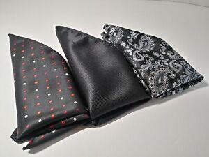 Men's Handmade 100% Silk Handkerchiefs (Lot Of 3) Solid Polka Dot Paisley Black