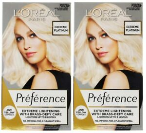 2 x LOREAL SUPERIOR PREFERENCE PERMANENT HAIR COLOUR EXTREME PLATINUM BRAND NEW