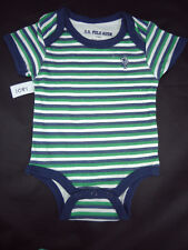 boys romper  US polo association green and navy stripes