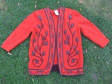 Alexon Wool Cardigan Embroidered No Fastening Size L Burnt Orange & Brown